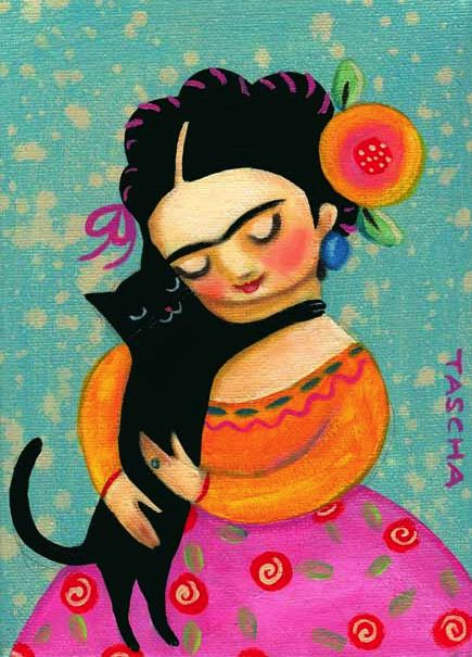 Darling art work of Frida Kahlo with a black cat.