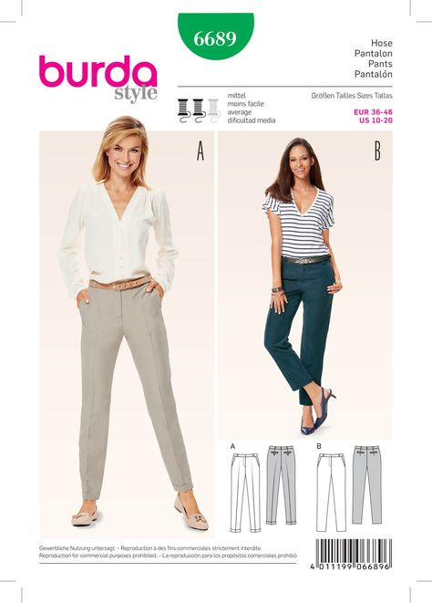 Purchase Burda 6689 Women's Pants and read its pattern reviews. Find other Pants, sewing patterns.