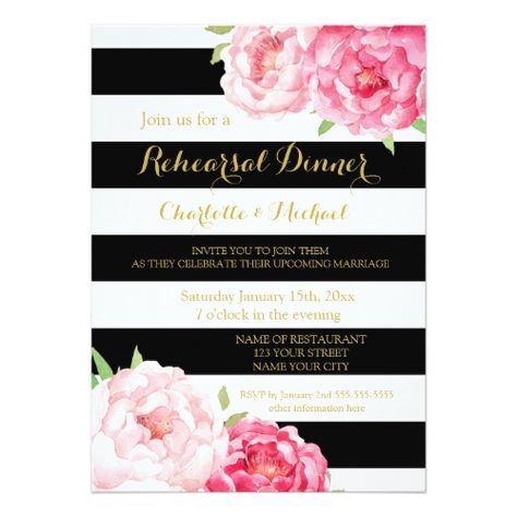 Black Stripes Pink Floral Rehearsal Dinner Party Card