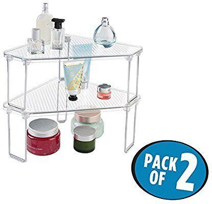 Amazon Com Mdesign Free Standing Corner Storage Shelf For Bathroom Vanity Counter Top Cabinet Pack O Corner Storage Shelves Bathroom Shelves Corner Storage