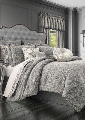J Queen New York Matteo Charcoal 4 Piece Comforter Set In 2020 Comforter Sets Bedding Sets Cal King Bedding