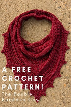 Check out this free crochet pattern for the Bauble Bandana Cowl. - Craft Ideas - Check out this free crochet pattern for the Bauble Bandana Cowl. Check out this free crochet pattern for the Bauble Bandana Cowl. Crochet Cowl Free Pattern, Crochet Gratis, Crochet Motifs, Crochet Stitches, Knit Crochet, Knitting Patterns, Double Crochet, Single Crochet, Free Knitting