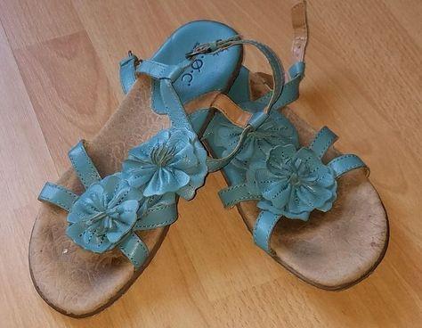 1de92575e30 BOC BORN CONCEPT Womens Sandals Blue Leather Flower Size 8 39 Ankle ...