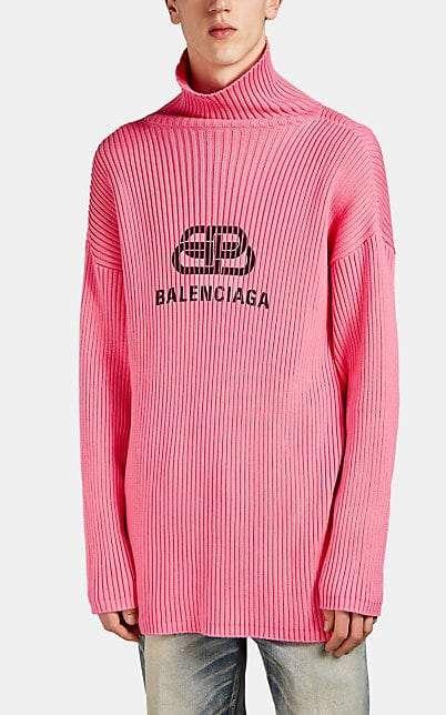 Balenciaga Men's Logo Turtleneck Sweater Pink | Turtleneck