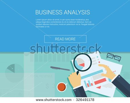 Business Analysis Background With Magnifying Glass Graphs And