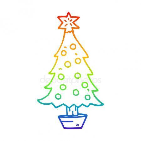 Rainbow Gradient Line Drawing Cartoon Christmas Tree Stock Vector Sponsored Line Drawing Rainbo Cartoon Christmas Tree Line Drawing Cartoon Drawings