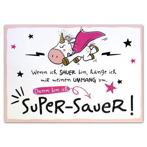 """Hope & Gloria Postkarte »Super-Sauer« """"Wenn ich sauer bin, hänge ich mir meinen Umhang um. Dann bin ich Super-Sauer!"""""""