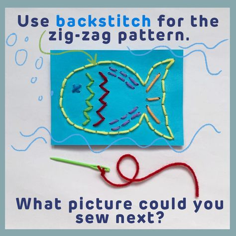 Use back stitch for the zigzag pattern.   What picture will you sew next?