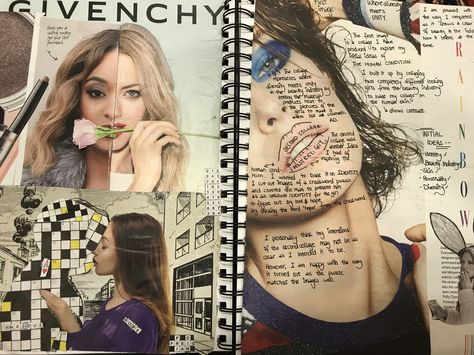 Collage on the human condition with annotations - GCSE art sketchbook