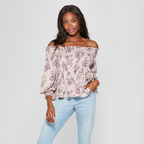f9a021025a2b1f Women s Long Sleeve Floral Knit Off the Shoulder Top - Xhilaration Rose  (Pink) XS