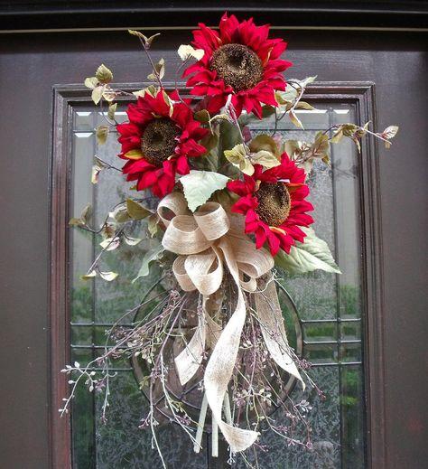 Fall Wreath Red Sunflower Bouquet Fall Decor Sunflower Wall Decor Floral Arrangement. $75.00, via Etsy.