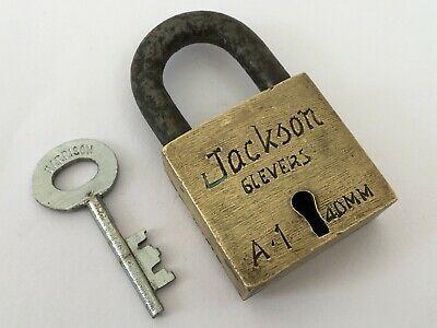 Lock Old Vintage Brass Padlock Lock With Key Rich Patina Jackson 6 Levers In 2020 Vintage Brass Brass Patina