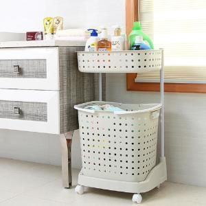 Basicwise 2 Tier Plastic Laundry Basket With Wheels Qi003311