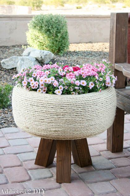 recycled tire turned gorgeous planter, container gardening, flowers, gardening, outdoor living, repurposing upcycling