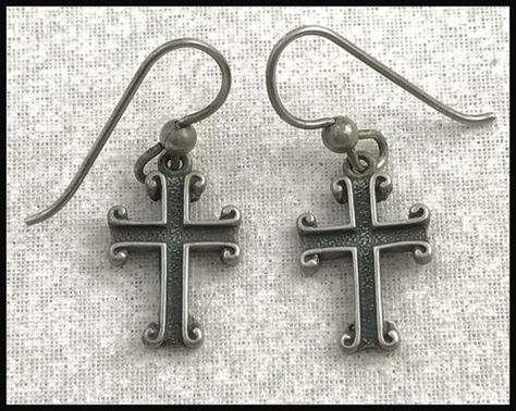 ANTIQUE-925-Sterling-Silver-Petite-Scrolled-Cross-Earrings-French-Wires