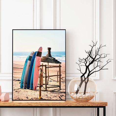 Moroccan Surf Beach Decor Wall Art Surf Boards Print Tropical