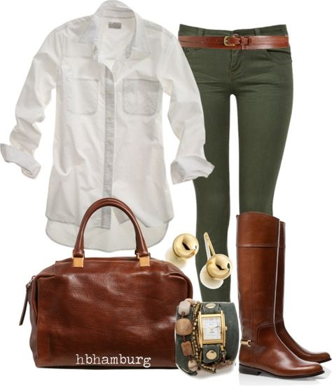 White oxford, green skinny jeans, classic riding boots, brown leather satchel bag, gold accented jewelry-Go To outfit Style Casual, Casual Chic, Casual Fall, Preppy Casual, Casual Office, Office Attire, Mode Outfits, Winter Outfits, Casual Outfits
