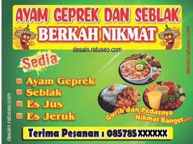 Banner Ayam Geprek Seblak Dan Fried Chicken Ayam Goreng Jeruk Ayam
