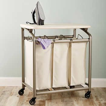 Seville Classics 3 Bag Laundry Sorter With Folding Table In 2020 Laundry Sorter Folding Table Laundry