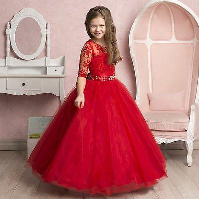 Red Girls Party Dress Flower Girl Dress Long Sleeve Flower Girl Dress Toddler Girls Dress Birthday Party Dress Floor Length Dress Lace