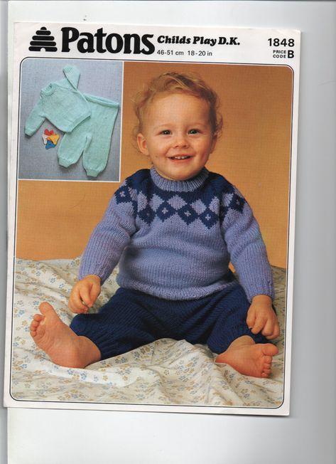 b4c0868acfbf PATONS retro baby sweater trousers DK KNITTING PATTERN