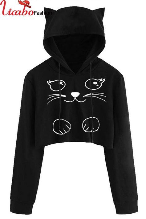 ZHI Cat Printed Hooded Overhead Casual Long Sleeve Sweatshirt can show the feminine elegance well, get best women Hoodies & Sweatshirts online.