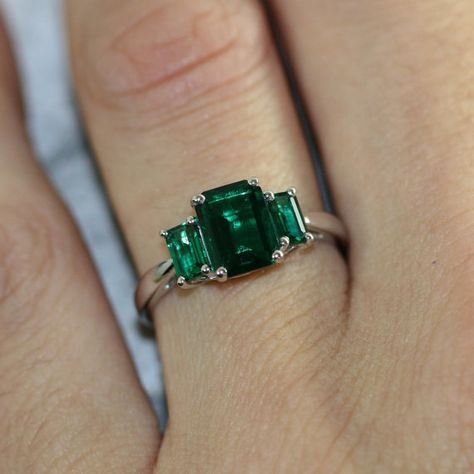 3 Stone Emerald Engagement Ring in 10k White Gold May Birthstone Ring Green Gemstone Emerald Ring, Size 7 (Resizable)
