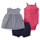 A striped swing top with coordinating bodysuit and bubble short is a versatile set. Adorable polka dots on bodysuit are a fresh new look.