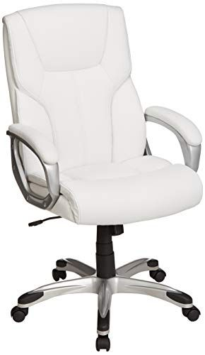 Amazonbasics High Back Executive Swivel Office Desk Chair White With Pewter Finish Desk Chair Best Office Chair