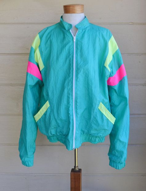 Vintage Neon Colored Windbreaker Jacket by Club Lotto Slouchy Zip Up Jacket