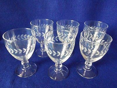 Vintage Etched Laurel Leaf Wine Glasses Set Of 6 Abp Glass Etching Glass Wine