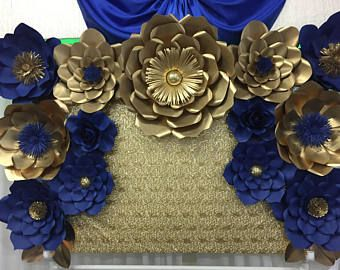 Set Of 13 Royal Blue And Gold Paper Flower Backdrop Gold