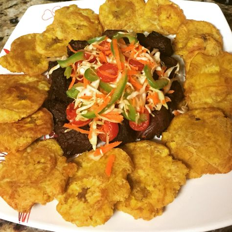 Fried beef chunks and fried plantain (Taso) | Haitian ...