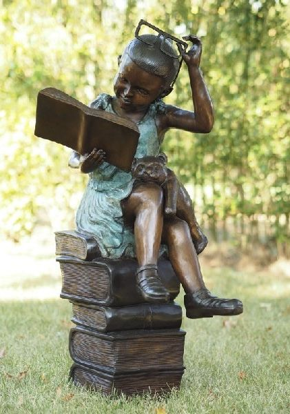 Bronzeskulptur Junge mit Querflöte Dekoration für Haus und Garten