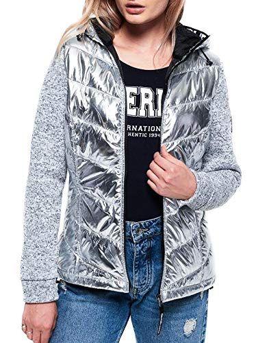 Superdry Damen Zipper Storm HYBRID METALLIC Ziphood Silver