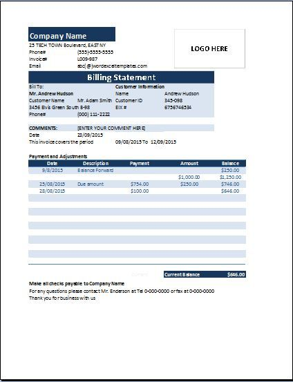 Billing statement invoice contains an invoice table having - billing invoices