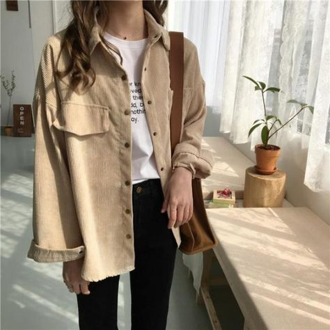 New Shirt 2021 Autumn New Ins Loose And Versatile Corduroy Shirt Women's Solid Color Casual Long Sleeve Shirt Coat - One Size / Beige