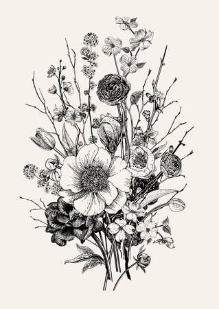 44++ Flower bouquet black and white clipart ideas