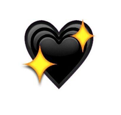 Starred Black Heart Emoji Coracao Do Whatsapp Imagens Emoticons Emoticons