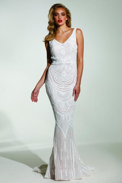 57304c6382 Tinaholy Couture Picasso P1732 White & Nude Sequin Mermaid Formal ...
