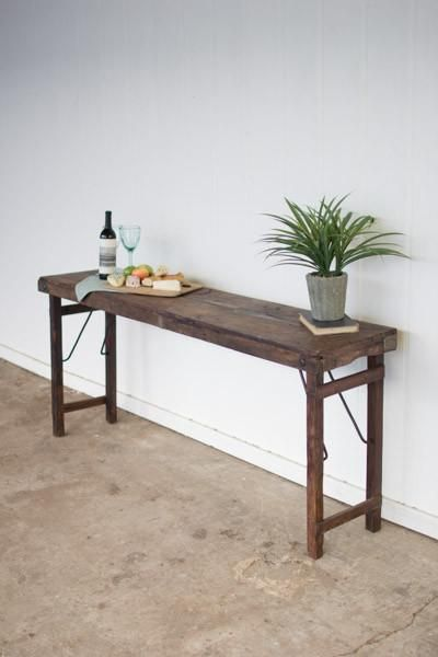 Kalalou Antique Wooden Folding Console Table Console Table