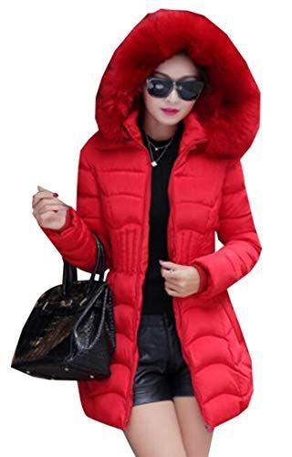 28a66c92bb8 Jaycargogo Womens Warm Down Coat Faux Fur Winter Hooded Parka Puffer Jacket  Long Overcoat Red S Best Winter Coats for Women USA