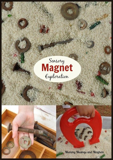 Fine Motor Sensory Fun With Magnets And Recycled Materials - See More At Mummy Musings And Sensory Tubs, Sensory Boxes, Sensory Play, Montessori Activities, Motor Activities, Preschool Activities, Maria Montessori, Day Care Activities, Preschool Science