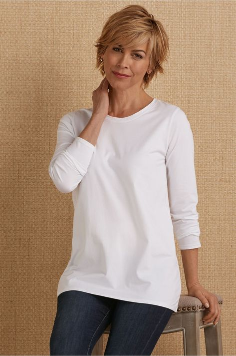 Shop our entire collection of women's tops & tees in luxuriously soft fabrics for a warm day or cool evening. Find tunic tops, tees, shirts & toppers today at Soft Surroundings. Short Hair With Layers, Layered Hair, Short Hair For Round Face Double Chin, Short Hair Cuts For Women Over 50, Short Hair Over 50, Short Hair Older Women, Short Hairstyles For Women, Braided Hairstyles, 1940s Hairstyles