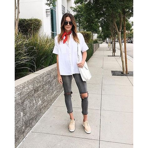 A boxy white shirt, a bandana scarf, gray jeans, and casual sneakers. A great look for just an average day for a great price too!