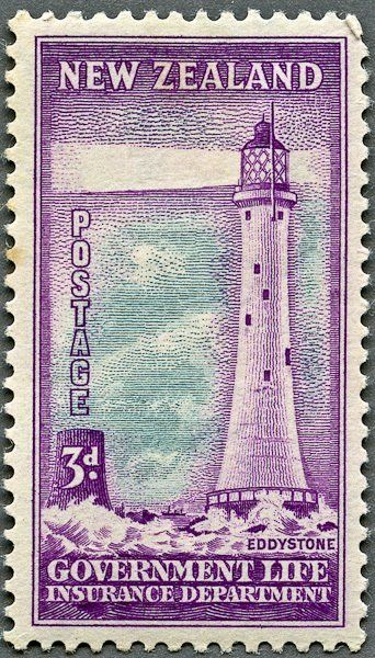 Stamp Eddystone Lighthouse New Zealand Government Life