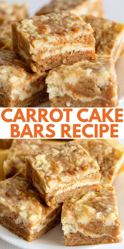 Carrot Cake Bars - These carrot cake bars are so moist and delicious! They have a sprinkle of cinnamon and a cheesecake swirl in them. They're the perfect Easter dessert bars. #easterrecipes #easter #bars #desserts #dessertfoodrecipes #dessertrecipes #desserttable #dessertideas #cookiedoughandovenmitt Desserts Ostern, Köstliche Desserts, Delicious Desserts, Dessert Recipes, Bar Recipes, Easy Dessert Bars, Homemade Desserts, Easter Recipes, Health Desserts