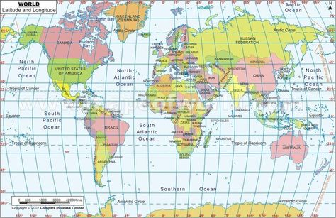World Map, Challenge A geography | Latitude, longitude map ...