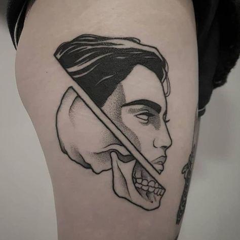Dead and alive head tattoo - Tattoogrid.net