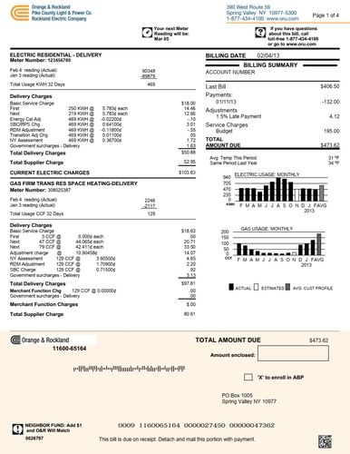 Utility Electric Proof Address Bill Statement Sample Pdf